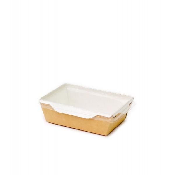 Коробка картонная крафт с пластиковой прозрачной крышкой, 450 мл