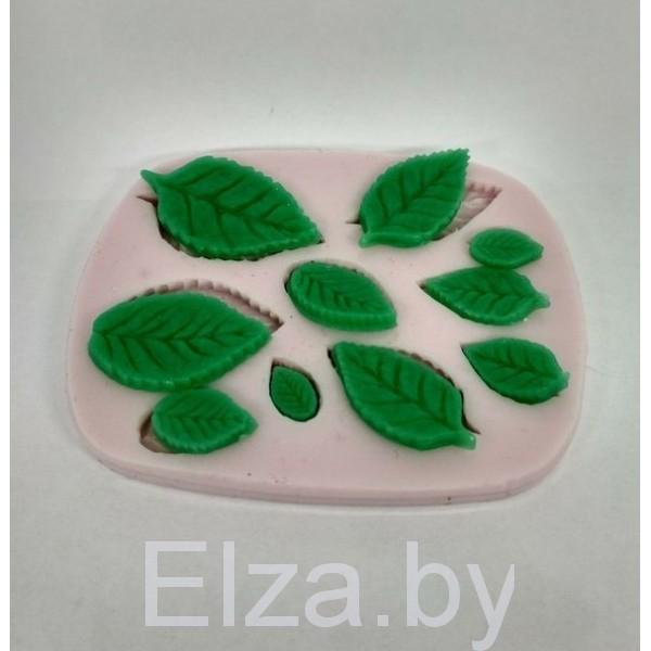 """Силиконовая форма молд для мыла и полимерной глины """"Листочки розы"""""""