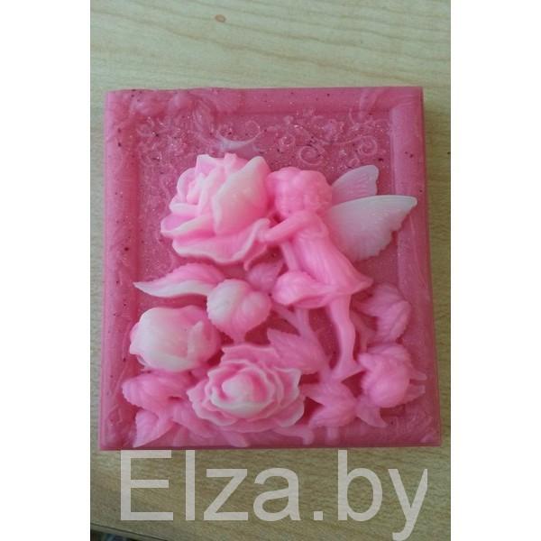 """Силиконовая форма для мыла """"фея с розой"""" 2D"""