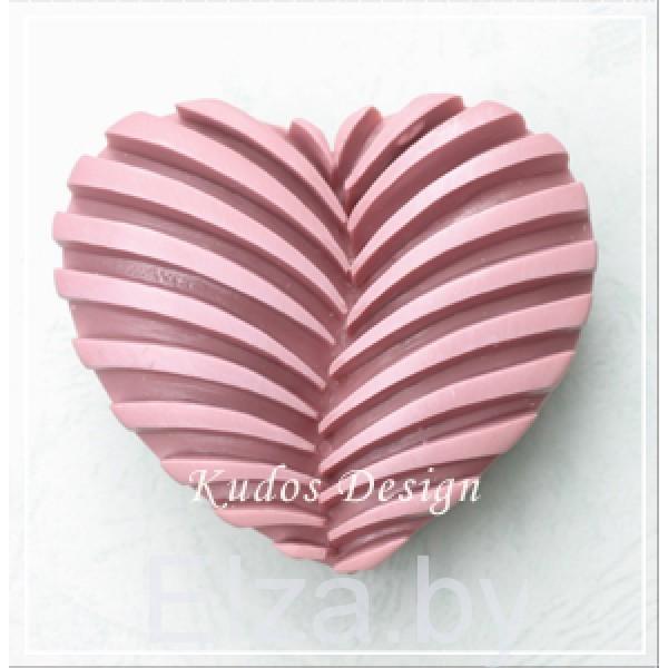 """Силиконовая форма для мыла """"рифленое сердце"""" 2D"""