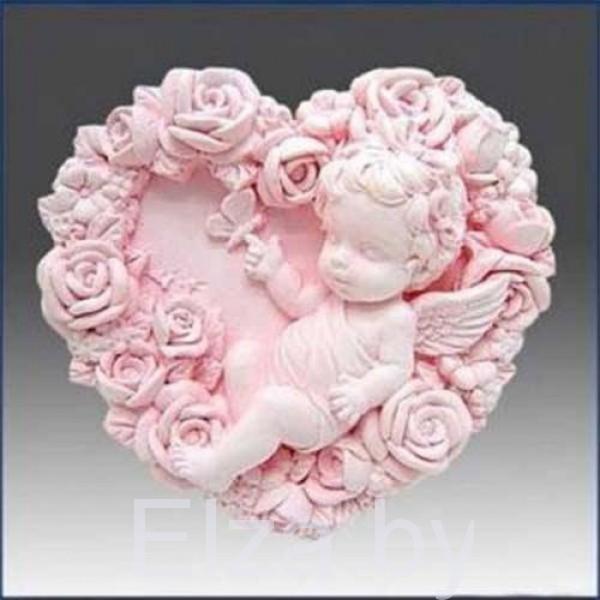 """Силиконовая форма для мыла """"ангел в розах"""" 2D"""