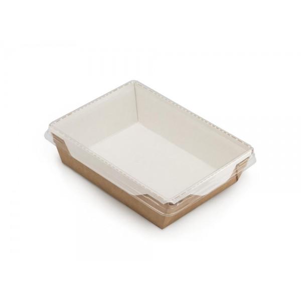 Коробка картонная крафт с пластиковой прозрачной крышкой, 800 мл