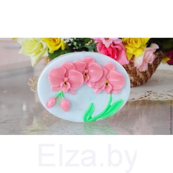 """Силиконовая форма для мыла """"Орхидея на  овале"""" 2D"""